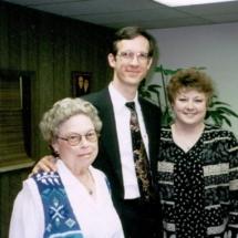 Leta Boswell, Brock Lovett, and Lynda Tinsley; 1995 Board Mtg.
